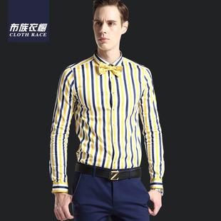 新款秋季新款品牌男装 修身翻领男士长袖衬衫 休闲条纹男式衬衫男男士衬衫