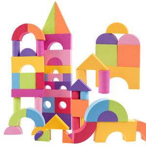 Sylph ultra light EVA software buliding blocks embossed foam puzzle toy 50 large safety blocks