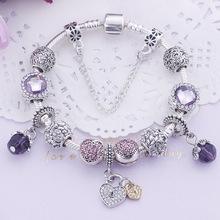 情人節熱銷紫水晶禮品手鏈 DIY串珠女士流行串飾跨境飾品貨源批發