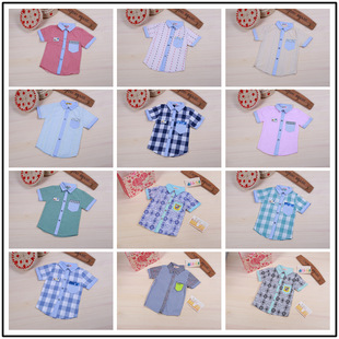 2016 Korean version of the new children's clothing boys spring models cotton plaid short-sleeved shirt shirt wholesa