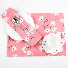 日式花卉棉麻双层布艺西餐餐垫杯垫餐桌垫隔热垫