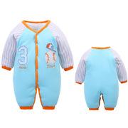 婴儿连身衣加厚秋冬新生儿衣服宝宝外出服0-1岁儿童冬季哈衣批发