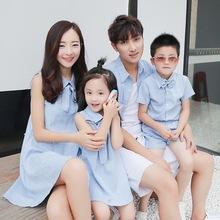 1629 2017新款夏裝韓版麻料時尚全家裝家庭裝淘寶爆款一件代發