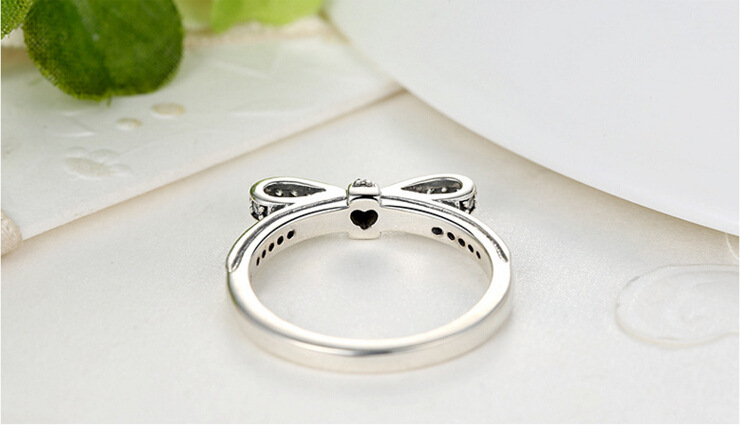 Pandora Style Silver Plated Engagement Ring Sparkling Bow