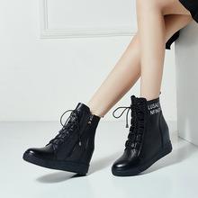 2017秋冬新品短靴内增高真皮女鞋大码41-42小码31 32 33厂家直