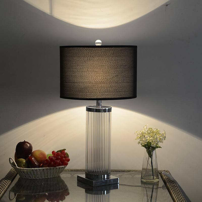 现代经典圆柱形水晶台灯 高档简约装饰灯?#39057;?#26700;面氛围灯一件代发