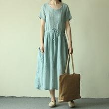 夏季新款 女士棉麻短袖蕾丝森女系连衣裙 D9226