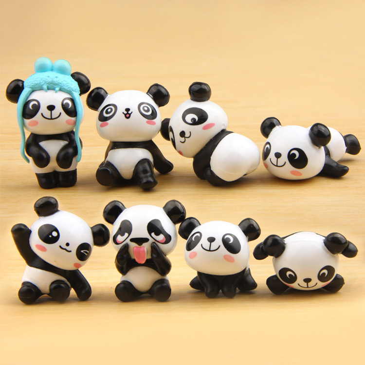 zakka杂货8款熊猫俏皮版造型手办DIY白搭微景观多肉园艺造景公仔