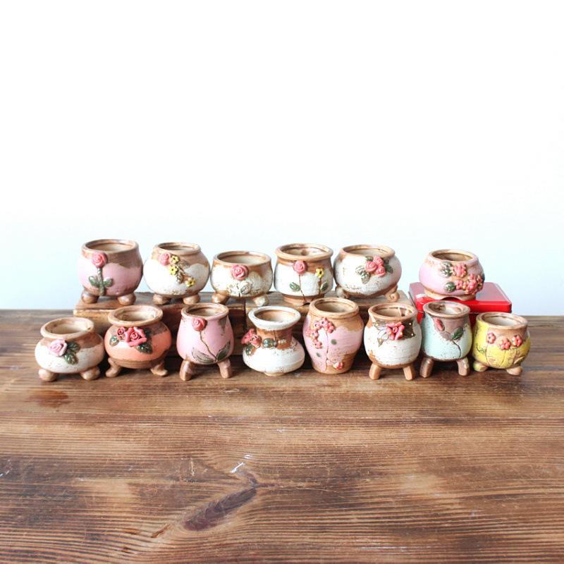 批发韩式手绘陶瓷多肉小花盆 拇指盆 育苗盆 混装 随机发货3755