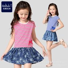 童装女童连衣?#29916;?#35013;2016新款中大童韩版裙子宝宝牛仔裙儿童短袖裙
