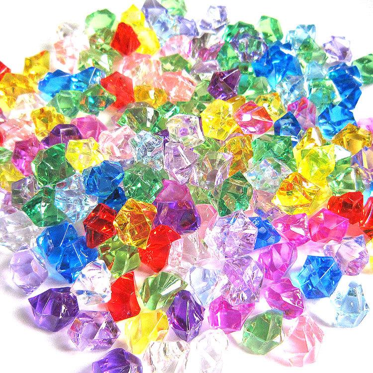 冰块仿真透明亚克力彩色水晶石假冰块 大小碎塑料石头diy树脂材料