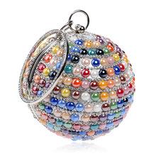 厂家直销盈幂跨境爆款女士晚宴包 镶钻欧美时尚球形宴会包手提包