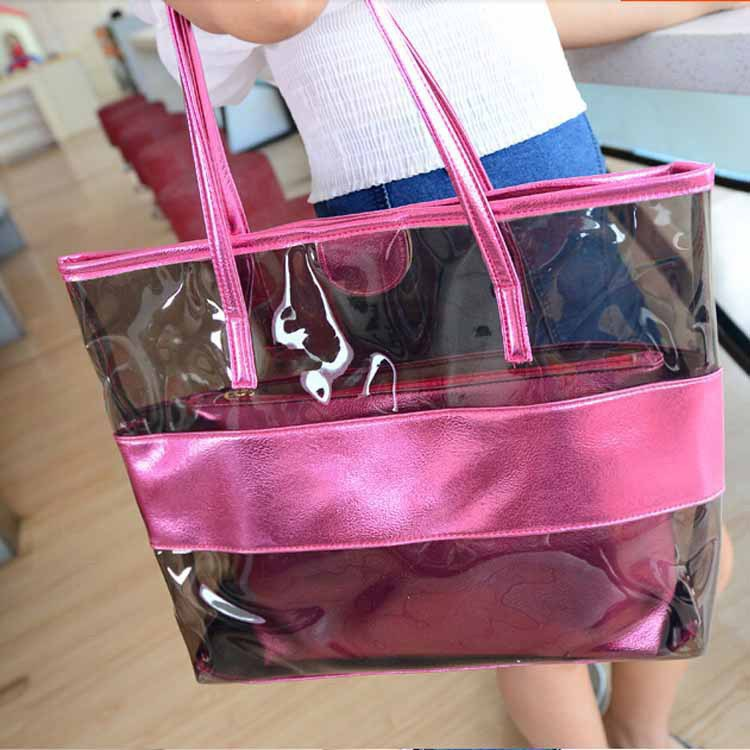 2016 special summer new PVC beach handbags Korean fashion transparent candy-colored shoulder bag mother bag