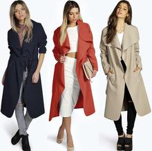 速卖通原单女装外套风衣欧洲站秋冬腰带大码毛呢大衣一件代发