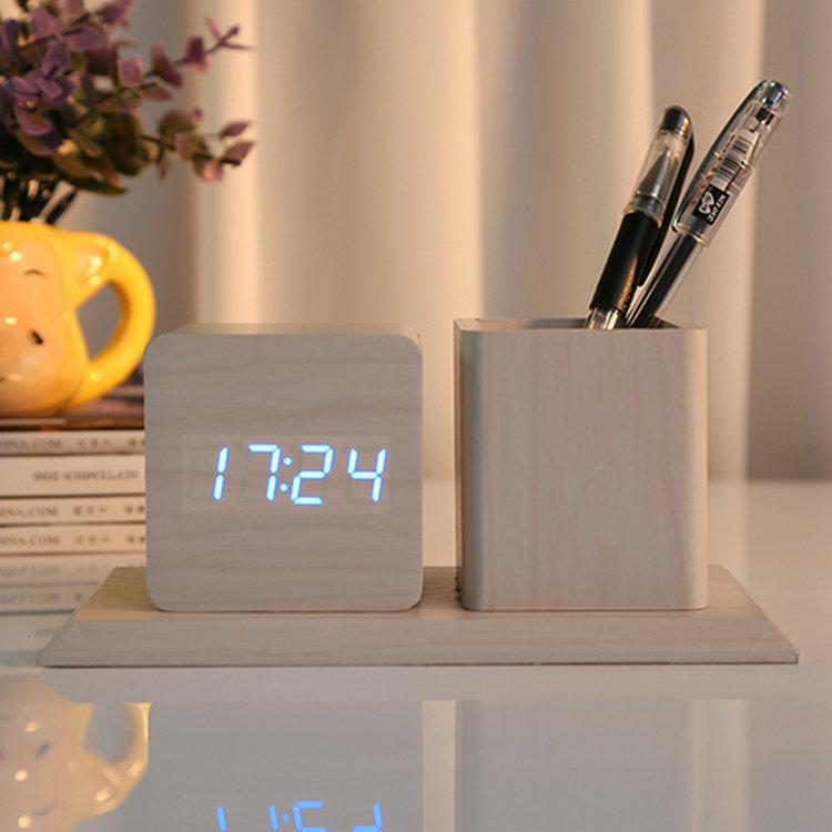 創意木頭時鐘筆筒鬧鐘 靜音聲控亮度自動調節多功能懶人木質鬧鐘