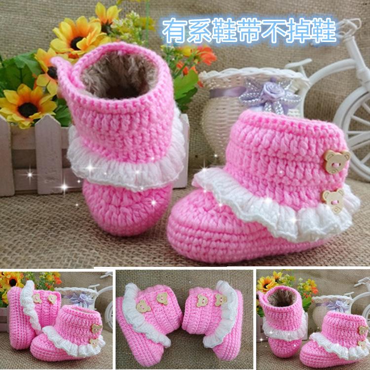 厂家批发 手工针织 font color=red>毛线 /font>婴儿鞋加绒加厚软底鞋