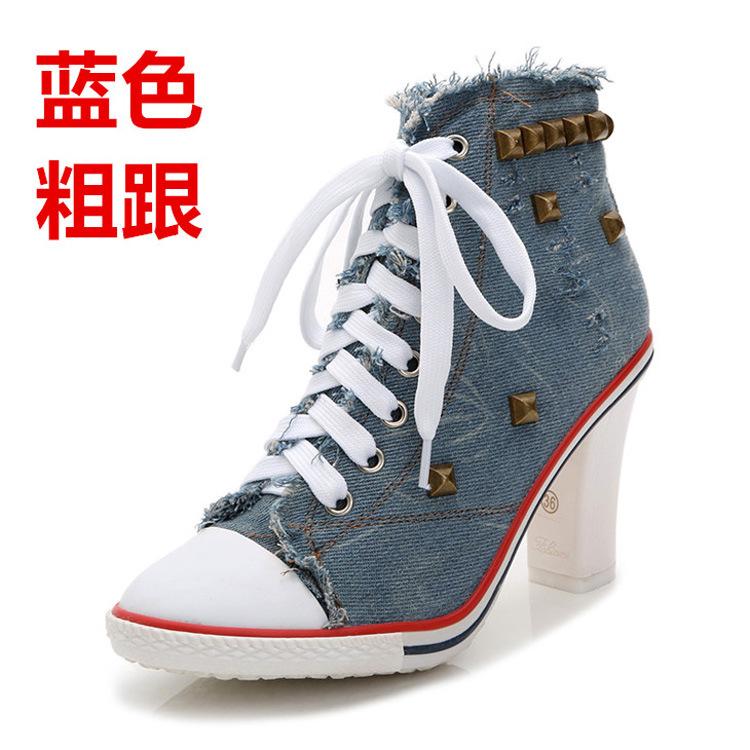 栩龙新款欧洲站女鞋 韩版爆款牛仔休闲鞋  帆布时尚铆钉学生鞋