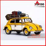 復古手工鐵皮汽車模型 仿古旅行版甲殼蟲汽車模型 金屬工藝品
