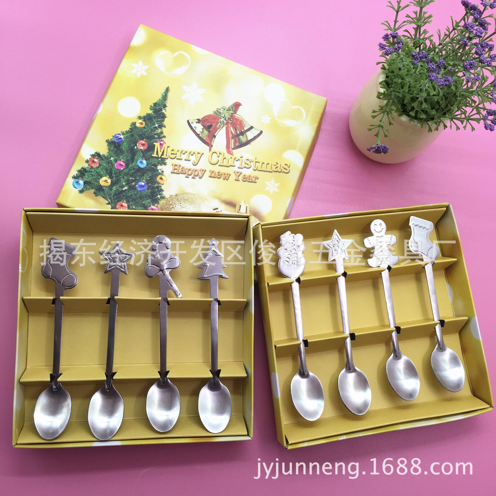 俊能供應不銹鋼圣誕禮品勺子四件套餐具便攜式套裝 禮品四支勺裝