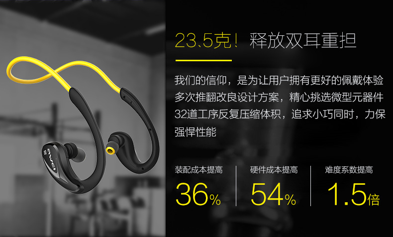 Sport earphones Awei A880BL Wireless Sports Earphones headphone Bluetooth V4.0 Earhook headset For Mobile phone