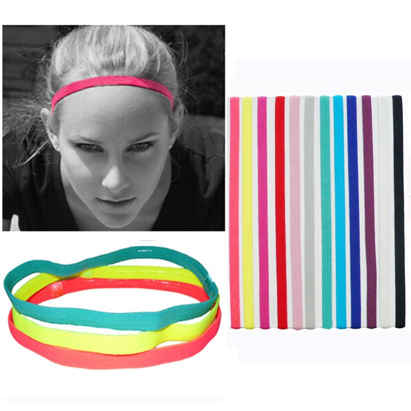 欧美流行松紧绳糖果色运动瑜伽发带发箍 跑步头带足球防滑发饰