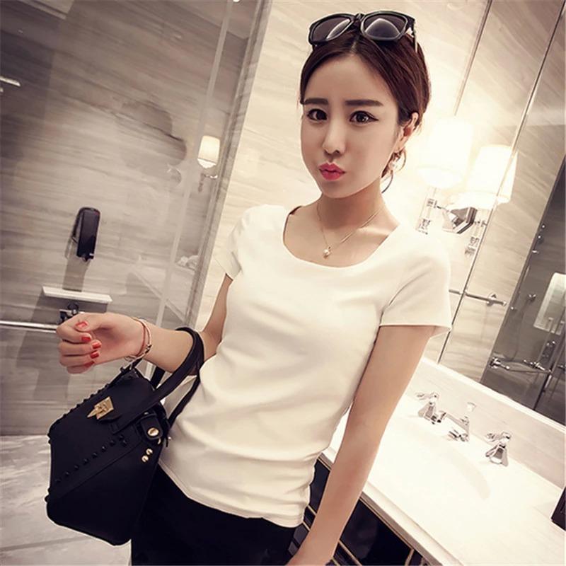 夏裝新款修身短袖t恤女韓版圓領純色半袖時尚潮流打底衫 春季