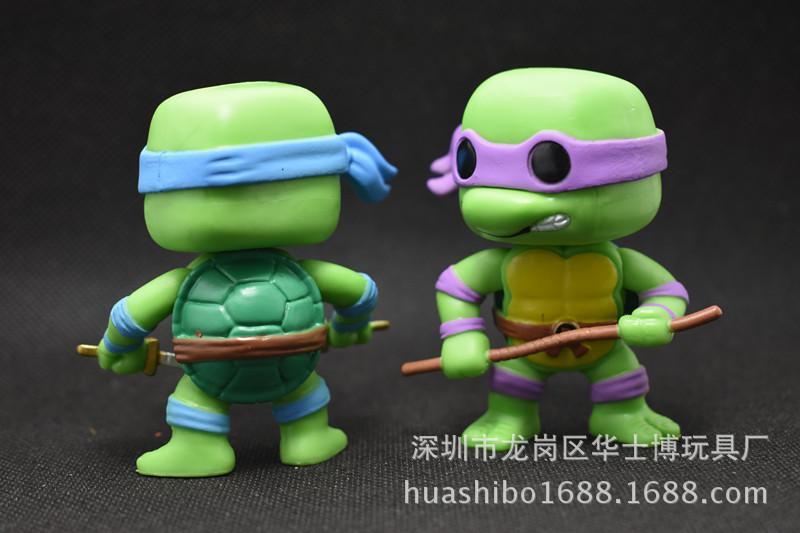 华士博动漫批发 忍者神龟 q版6款忍者神龟手办 模型可动玩偶