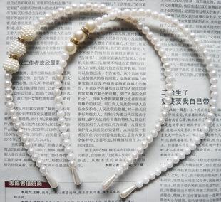 珍珠镶钻儿童发箍头箍 韩版公主款珍珠发箍手工串珠儿童发饰