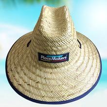 时尚百搭贴布大檐草帽 手工编织帽子 遮阳大沿边沙滩草帽厂家批发