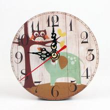 17款 欧式创意复古时钟挂钟客厅钟表 圆形仿木质挂钟卧室小钟表