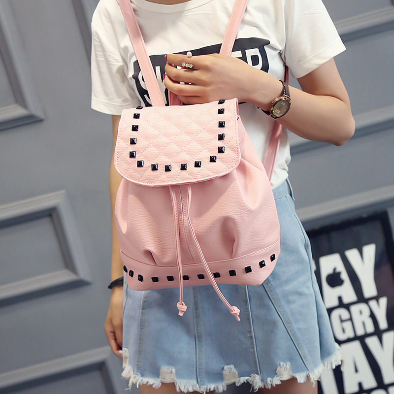 Washed leather rivets shoulder bags fashion female backpack embroidery Korean handbags leisure travel bags school bags