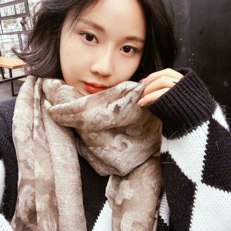 外贸 韩版刺绣花欧根纱镂空蕾丝棉麻围巾复古两用披肩秋冬季丝巾
