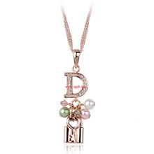 新款时尚镶钻字母心锁珍珠吊坠项链 清新优雅外贸饰品 134302