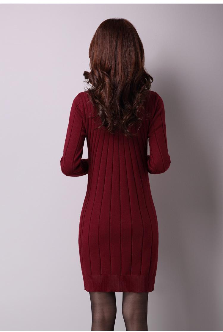 秋冬新款韩版套头时尚女装打底针织衫中长款