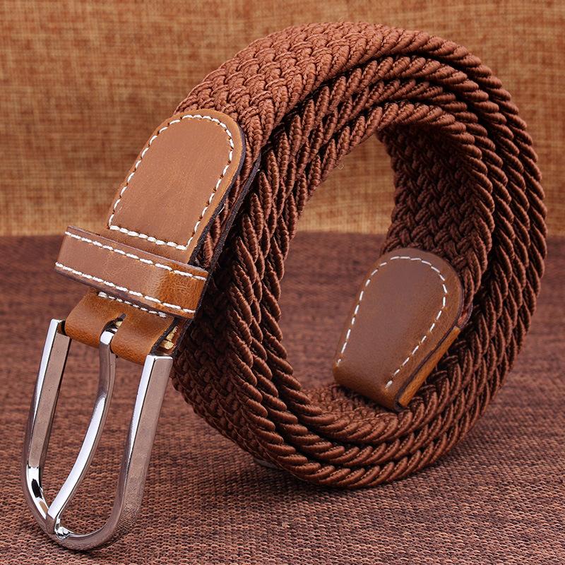 爆款休闲皮带 男士弹力编织帆布腰带 女士百搭针扣皮带 厂家直销