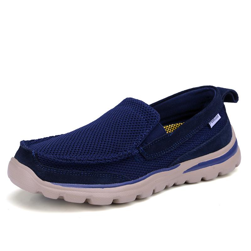 夏季男士休闲透气网布鞋运动一脚蹬懒人鞋一件代发老北京帆布鞋