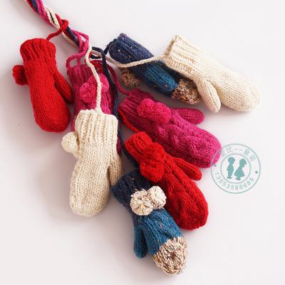 儿童针织手套冬款宝宝手工手套加厚男女童小孩手套可爱潮款保暖
