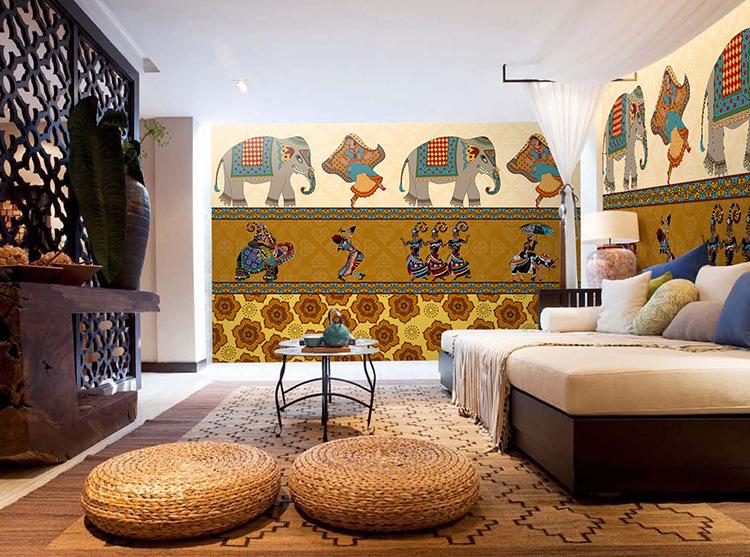 无缝3d立体泰式印度风情大象墙纸东南亚餐厅瑜伽馆壁纸大型壁画