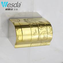 威斯达不锈钢纸巾盒卷纸架金摩伦挂壁式纸巾架浴室卫生间纸盒K24