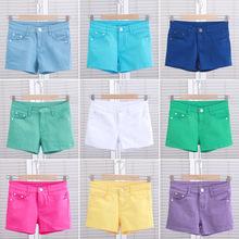 糖果色短裤女夏季外穿棉牛仔布铅笔裤三分韩版大码牛仔短裤热裤