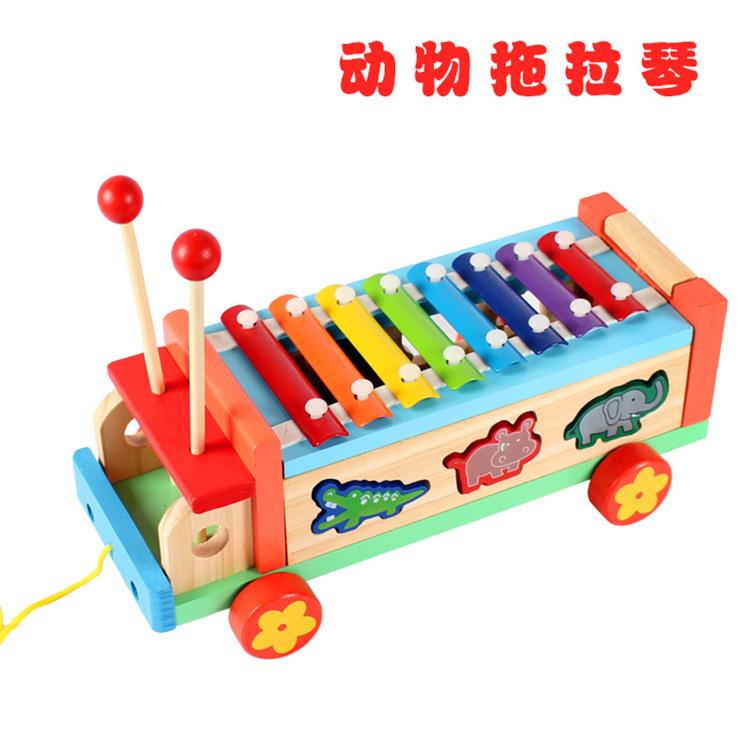 批发儿童益智早教木质玩具 多功能动物拖拉车八音琴卡通手敲琴