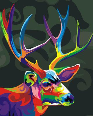 diy数字油画新款 40*50手绘客厅玄关风景动物数码装饰画梅花鹿15