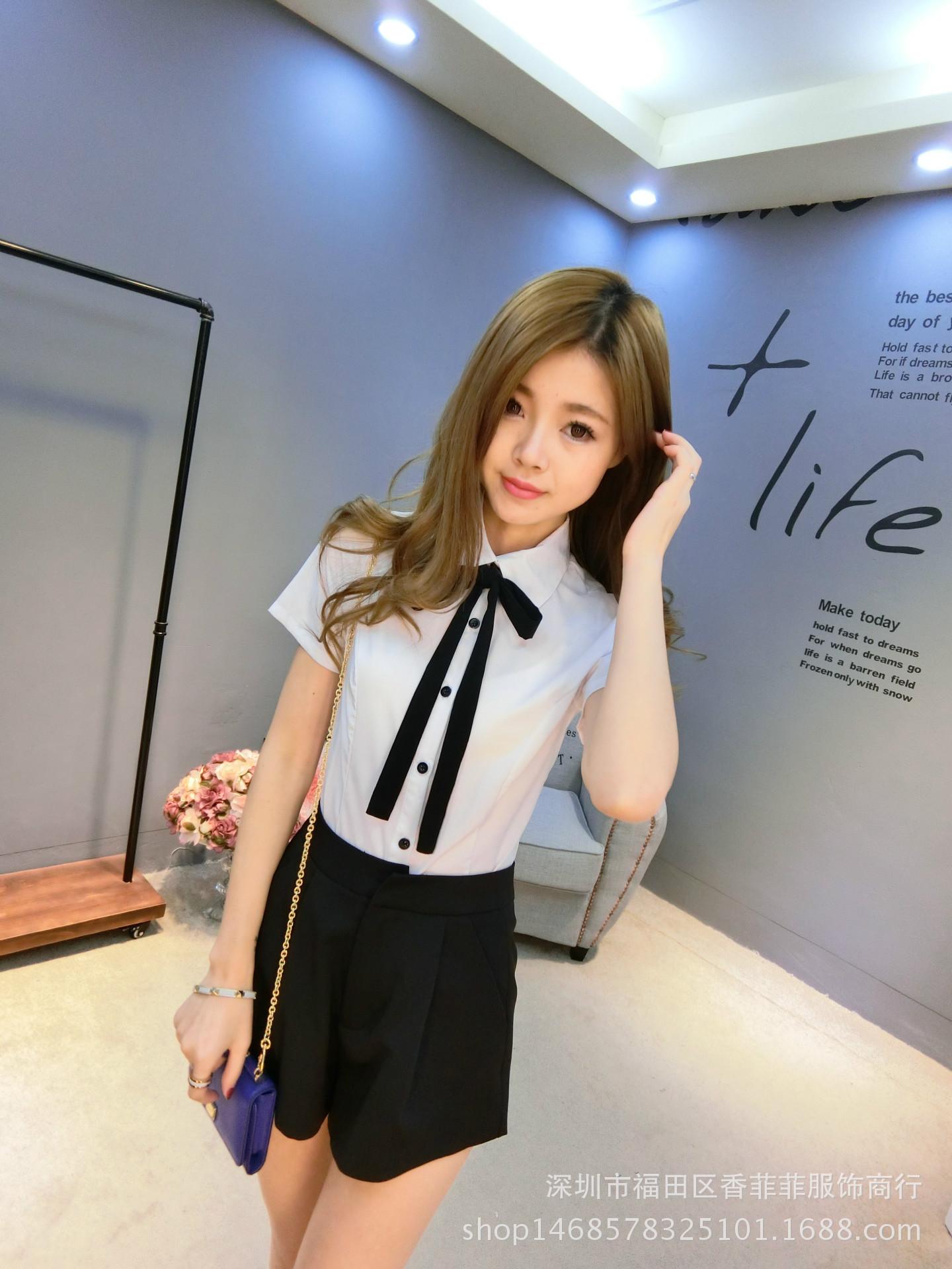 2016年夏季新款韩版修身白衬衫女短袖衬衣领黑色领结衬衫工作服