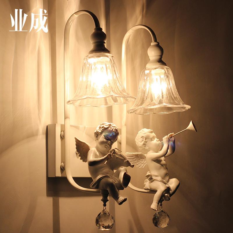 房卧室壁灯美式简约镜前灯欧式床头客厅双头天使壁灯