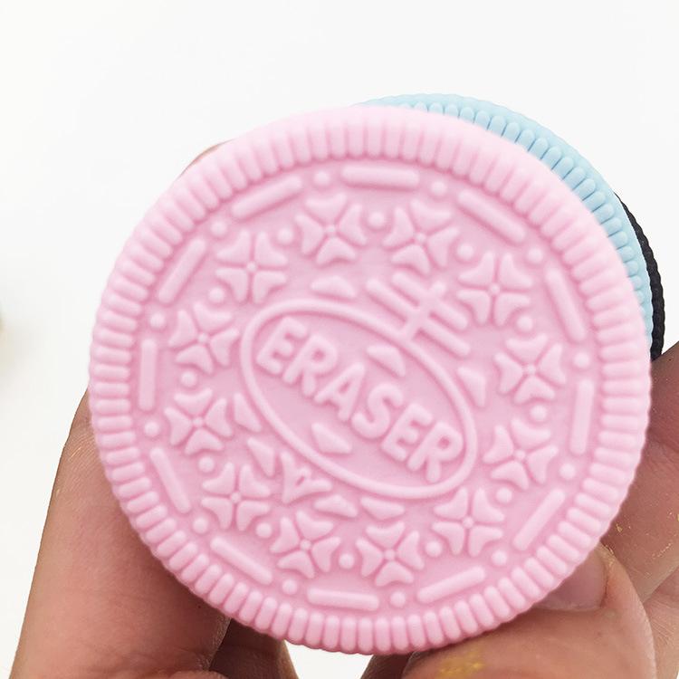 造型马卡龙色夹心饼干橡皮擦 创意可爱小学生儿童趣味3d橡皮檫
