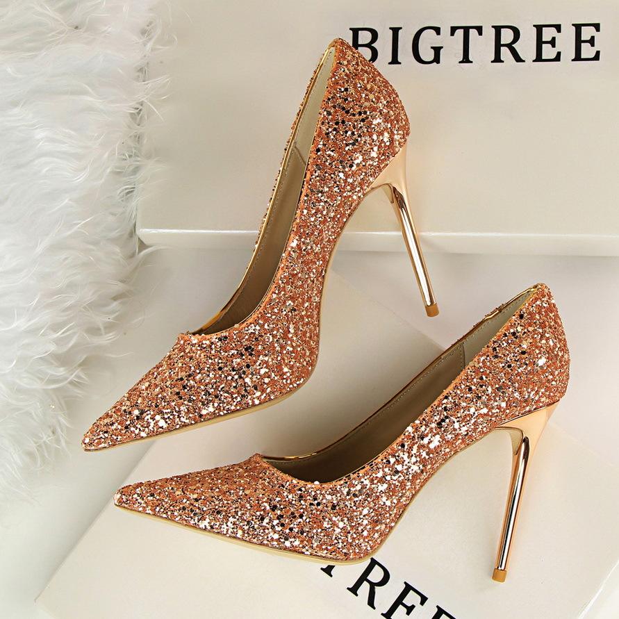 9219-1欧美风女鞋高跟浅口尖头闪耀亮片性感显瘦夜店高跟鞋单鞋