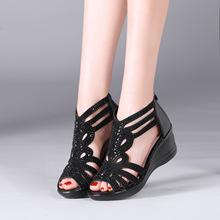 大码女式凉鞋坡跟外贸凉鞋透气女凉鞋一件代发大码女凉鞋批发