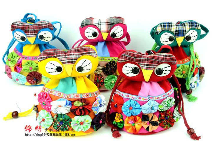 批发云南民族特色猫头鹰手工动物包 斜跨布艺卡通零钱包 棉布小包