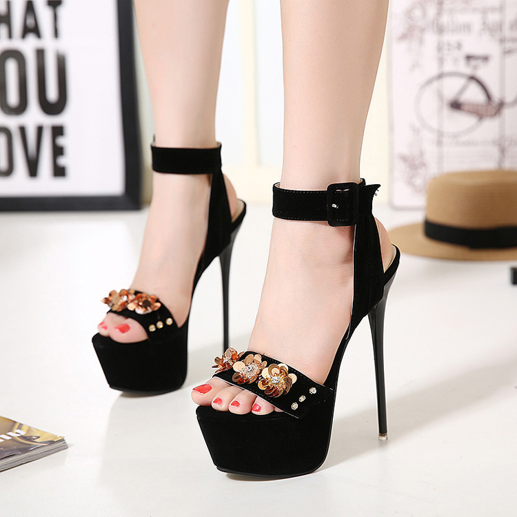 European and American fashion high heels measures with flower sandals, sexy black diamond fine with high heels's main photo