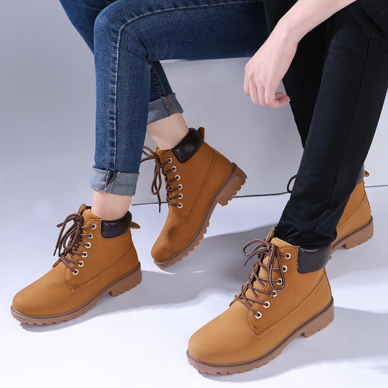 跨境专供情侣款马丁靴男靴PU皮靴女大头鞋大黄鞋短靴子boots 2019